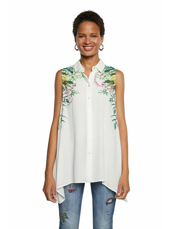Рубашка белая с принтом | 5710350