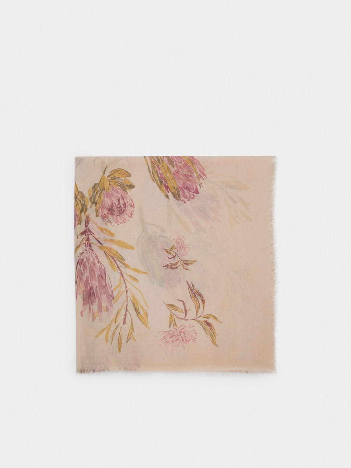Шарф комбинированного цвета в цветочный принт   5710622