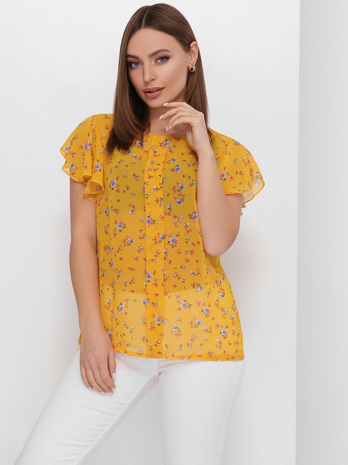 Блуза гірчичного кольору з квітковим принтом | 5711753