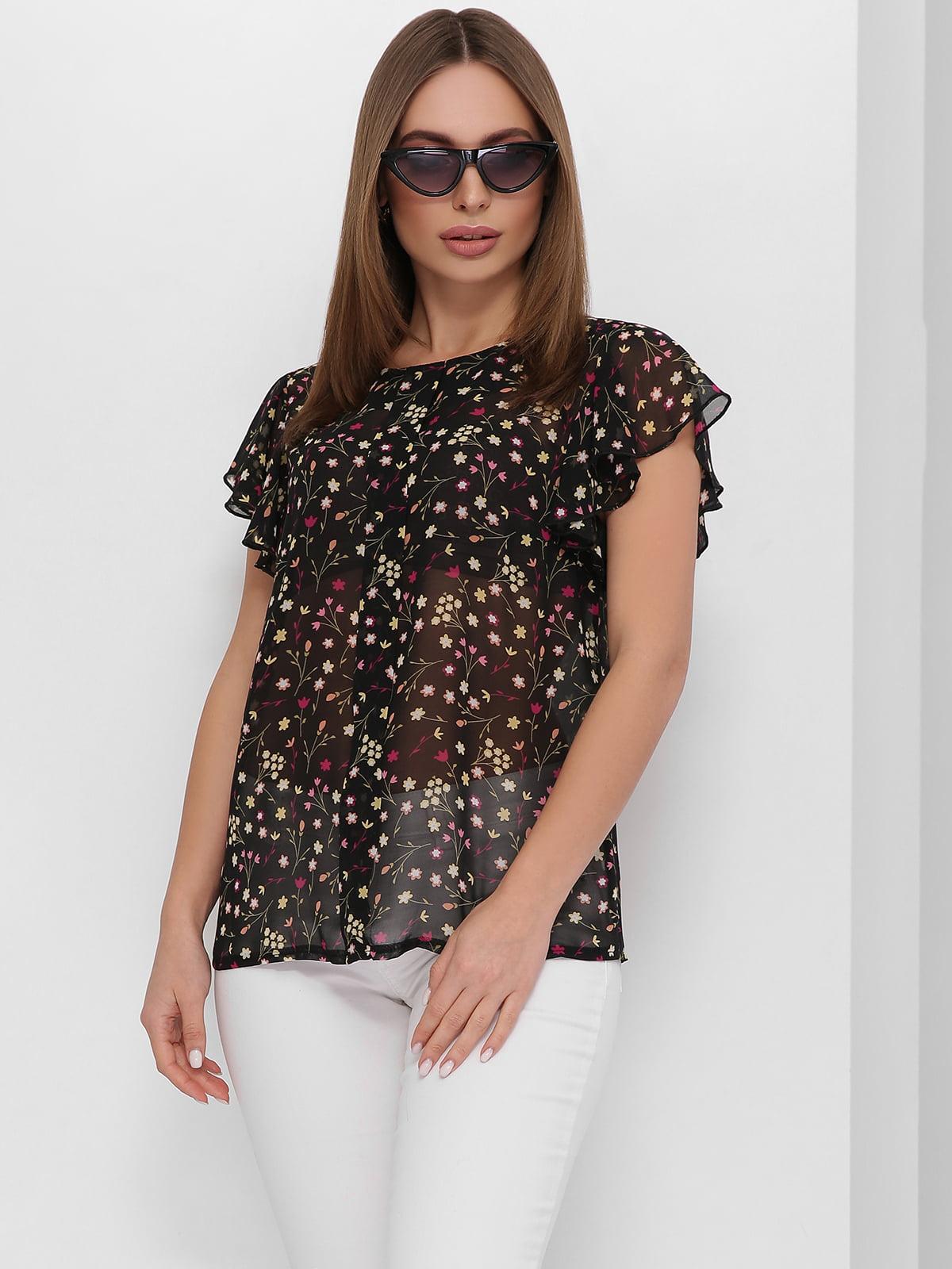 Блуза черная с цветочным принтом | 5711754