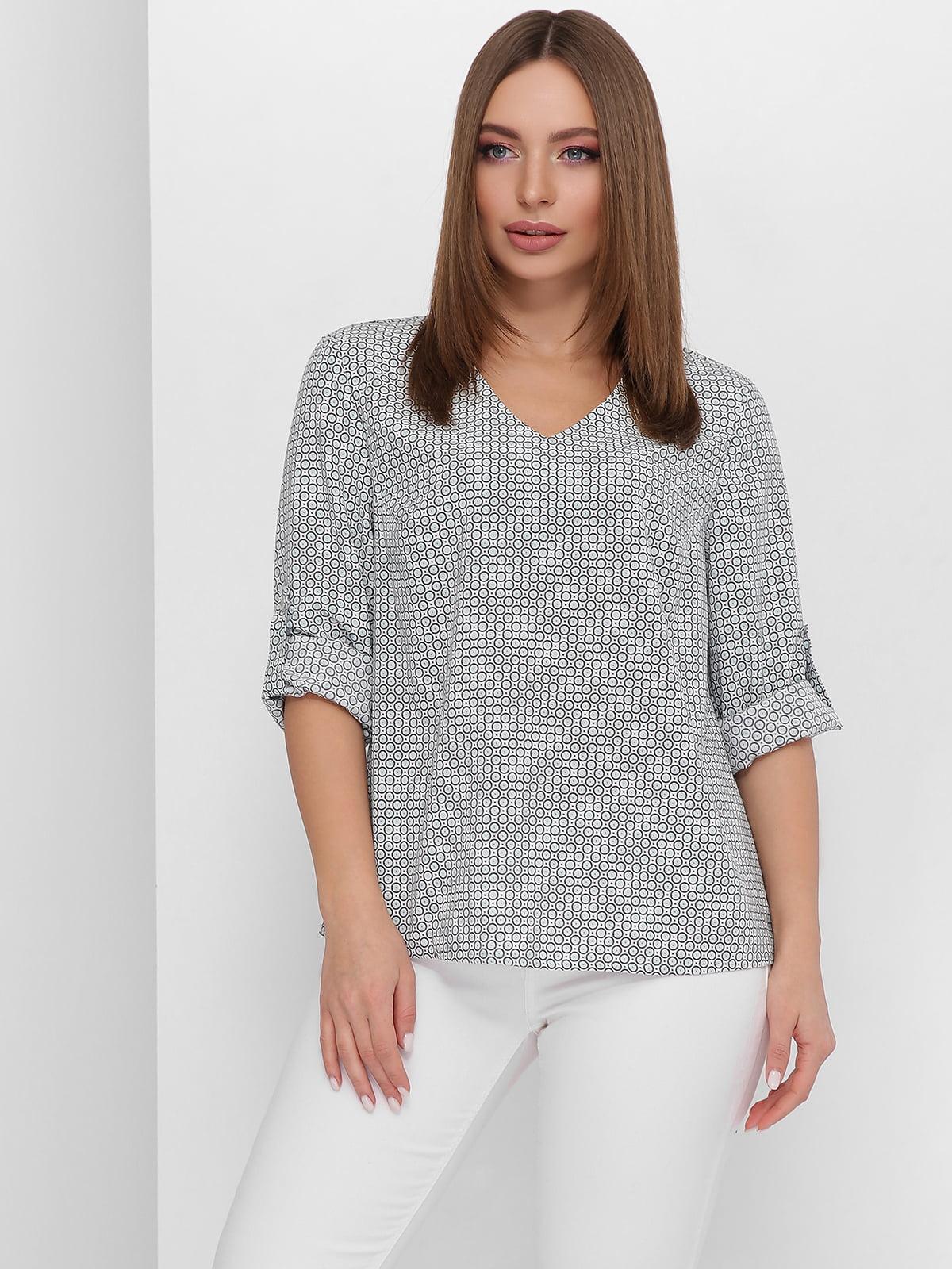 Блуза м'ятного кольору в горошок | 5711755