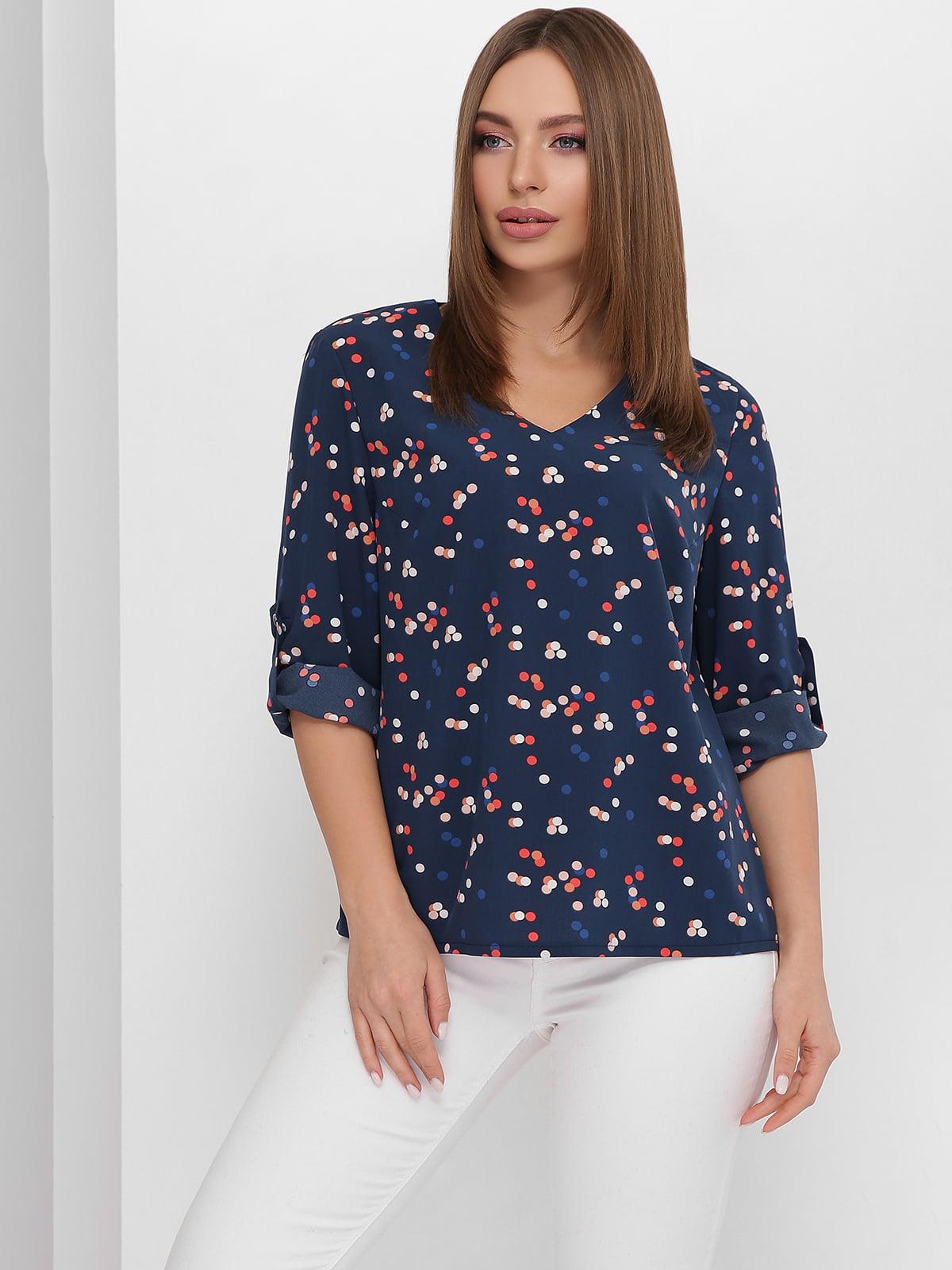 Блуза синя з принтом | 5711757