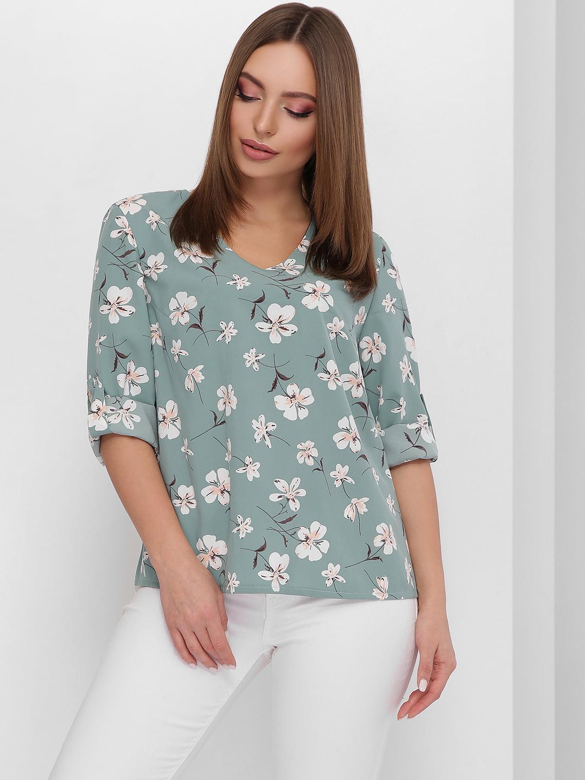 Блуза лазурового кольору з квітковим принтом | 5711760
