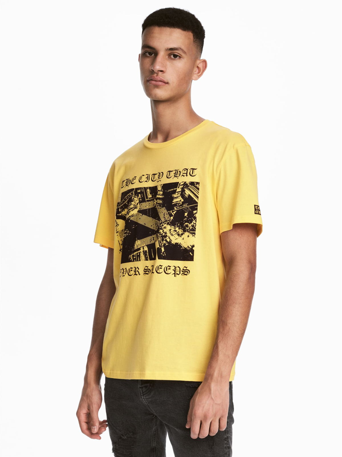 Футболка жовта з принтом | 5711393