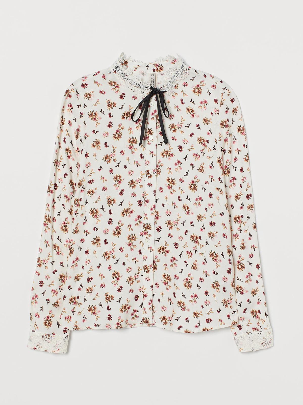 Блуза кремового кольору в квітковий принт | 5711509