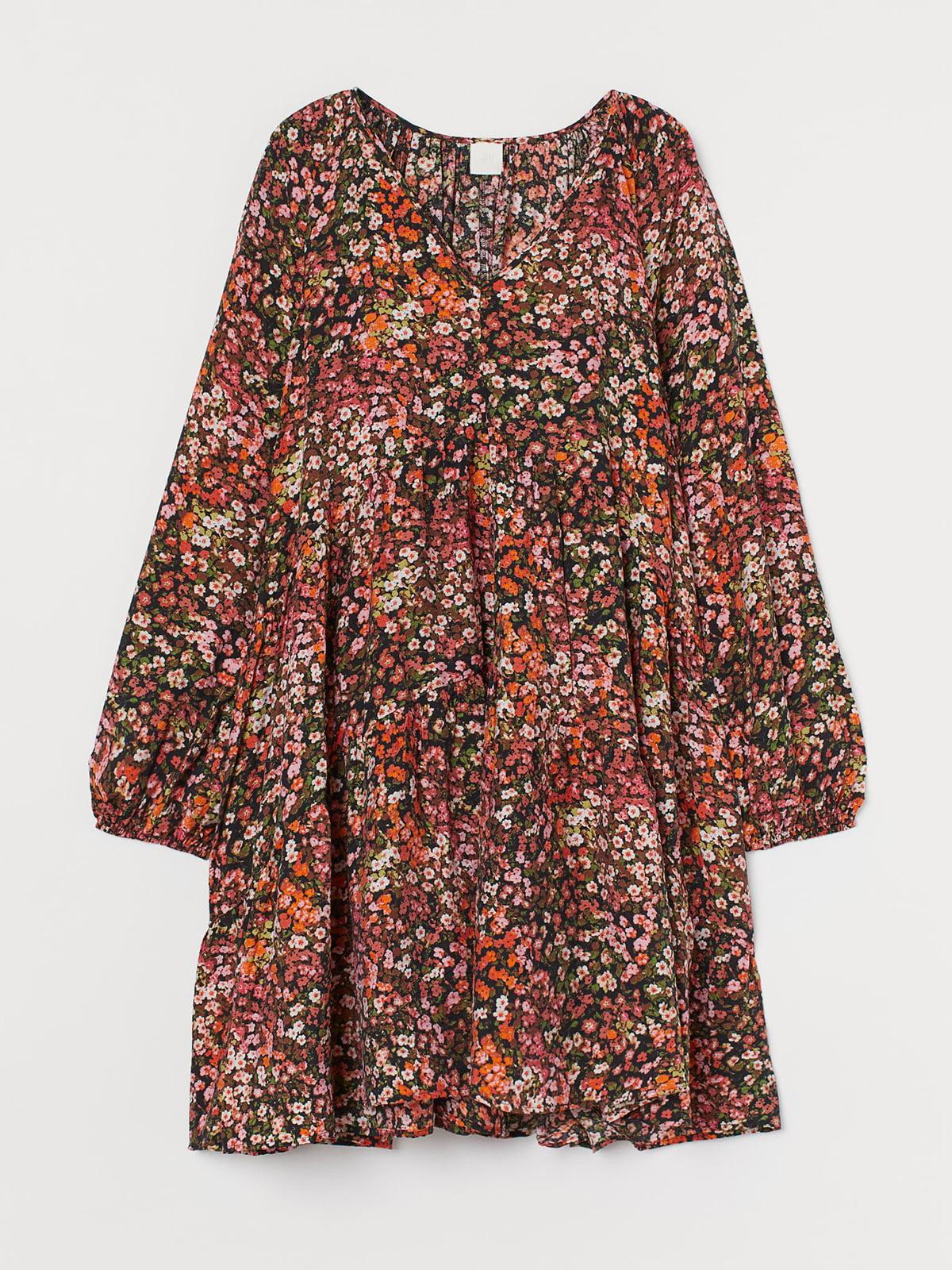 Сукня чорна в квітковий принт   5711576