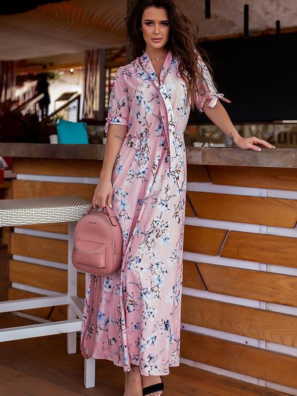 Платье пудрового цвета в цветочный принт   5715027
