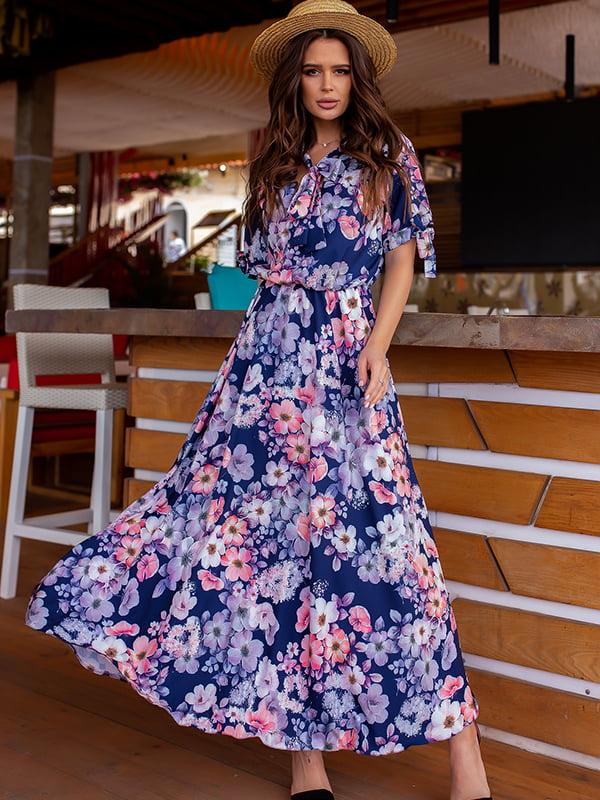 Платье темно-синее в цветочный принт | 5715029