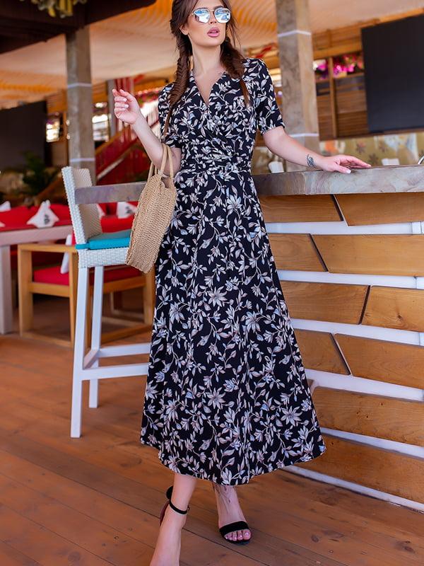 Платье черное в цветочный принт | 5715035
