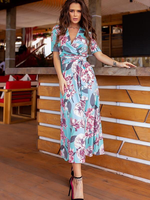 Платье бирюзового цвета в цветочный принт | 5715037