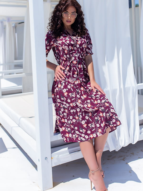 Сукня бордова у квітковий принт | 5715158