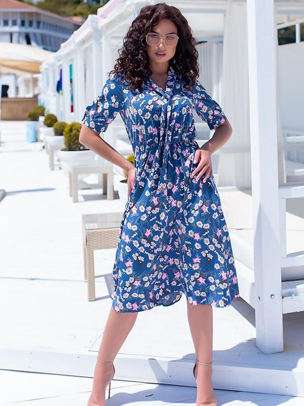 Платье синее в цветочный принт | 5715159
