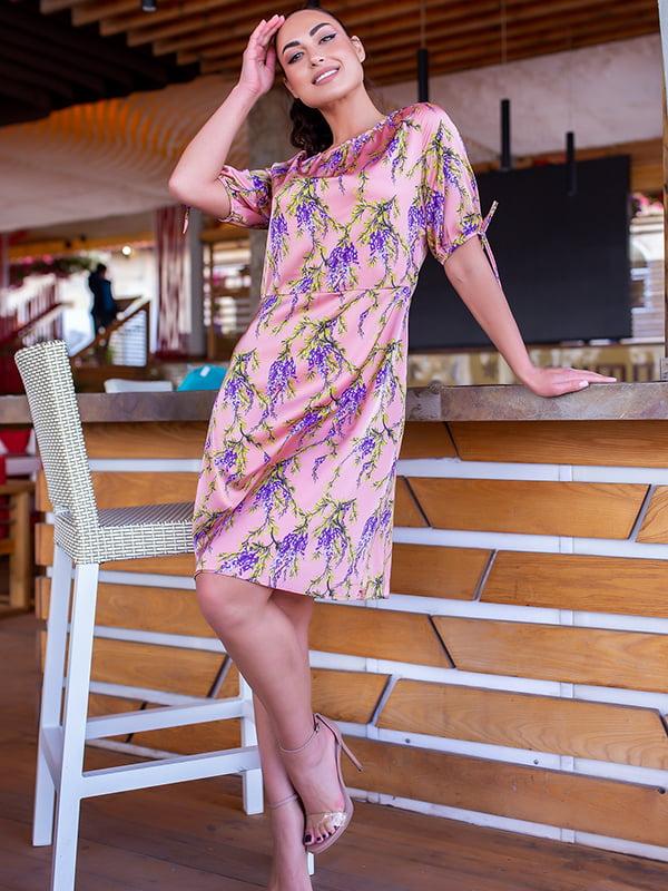 Платье розовое в цветочный принт | 5715170