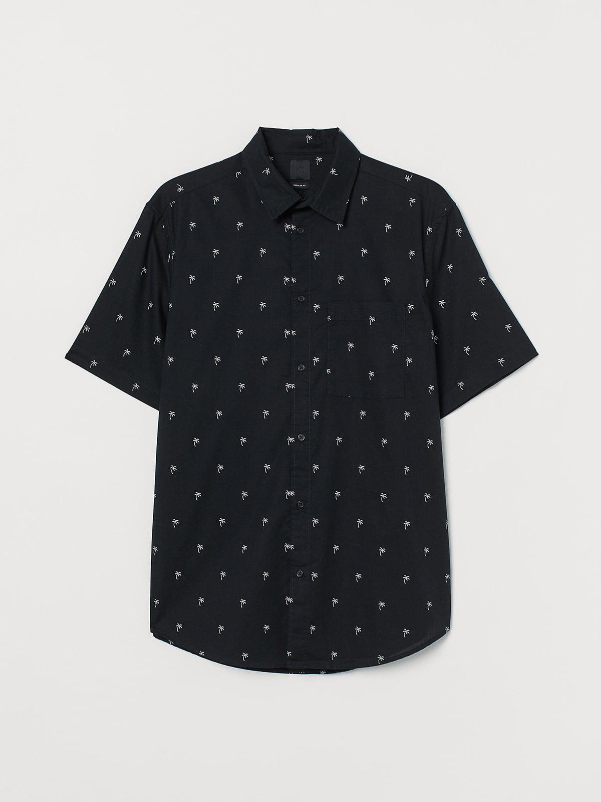 Рубашка черная с принтом | 5402119