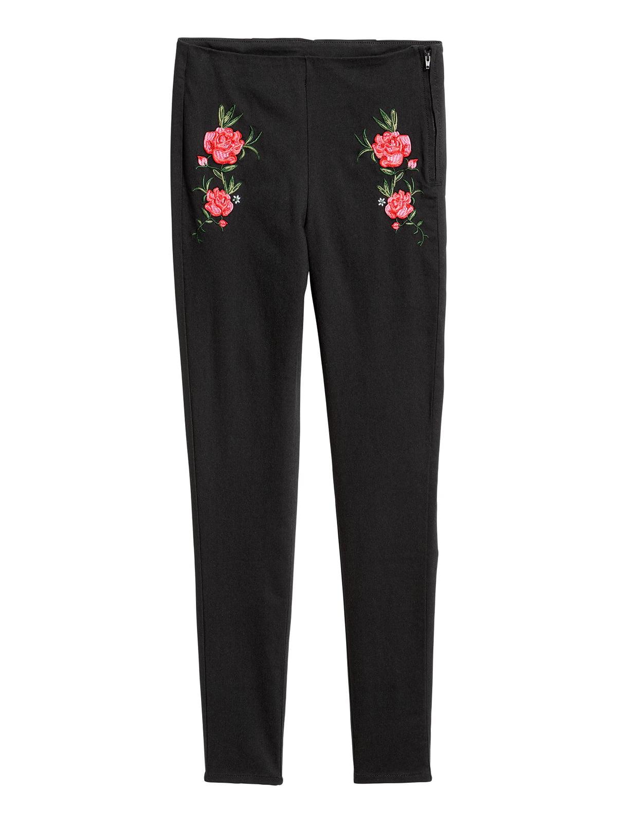 Брюки черные с цветочной вышивкой | 5702648