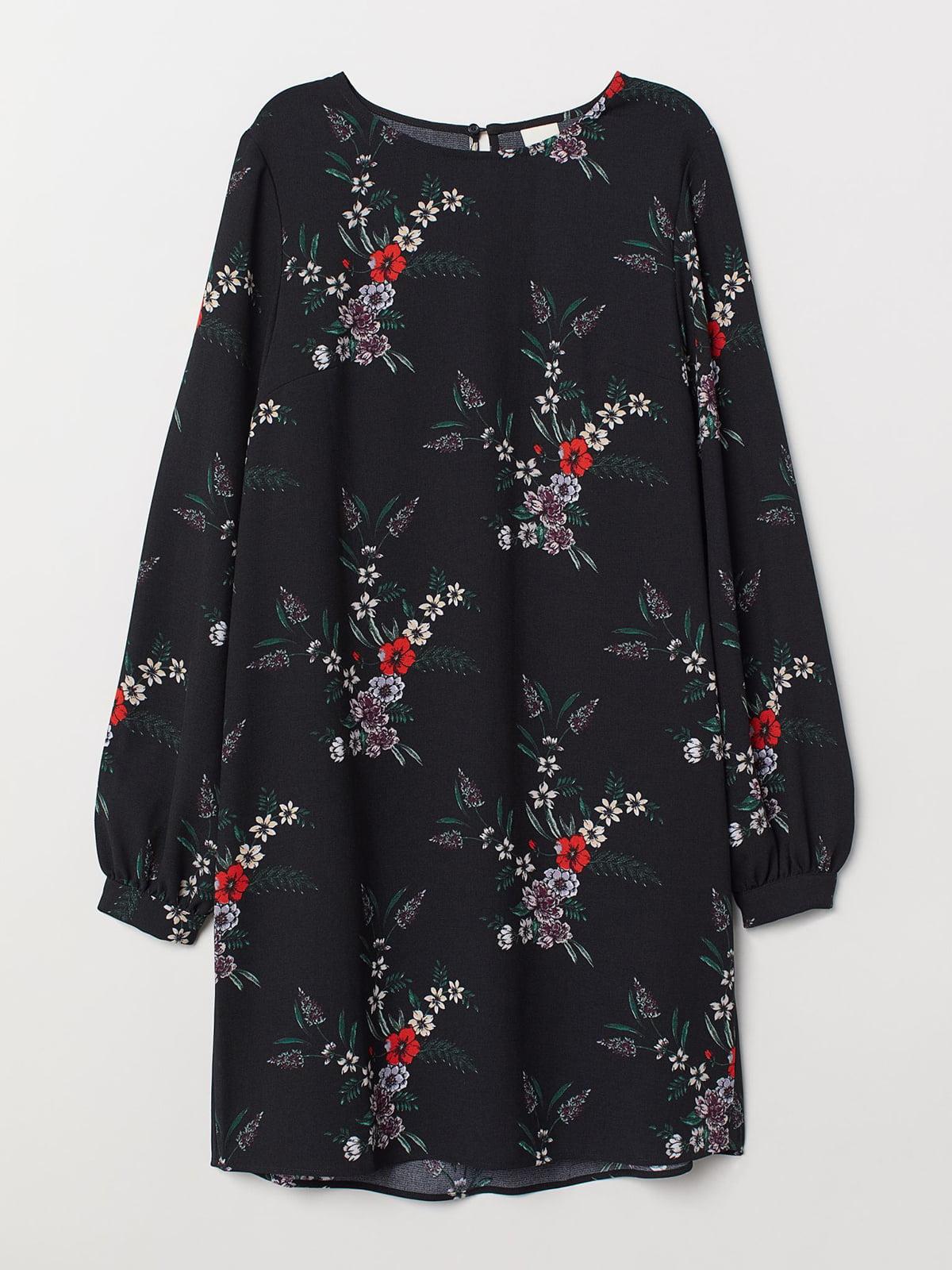 Платье черное с цветочным принтом   5702704