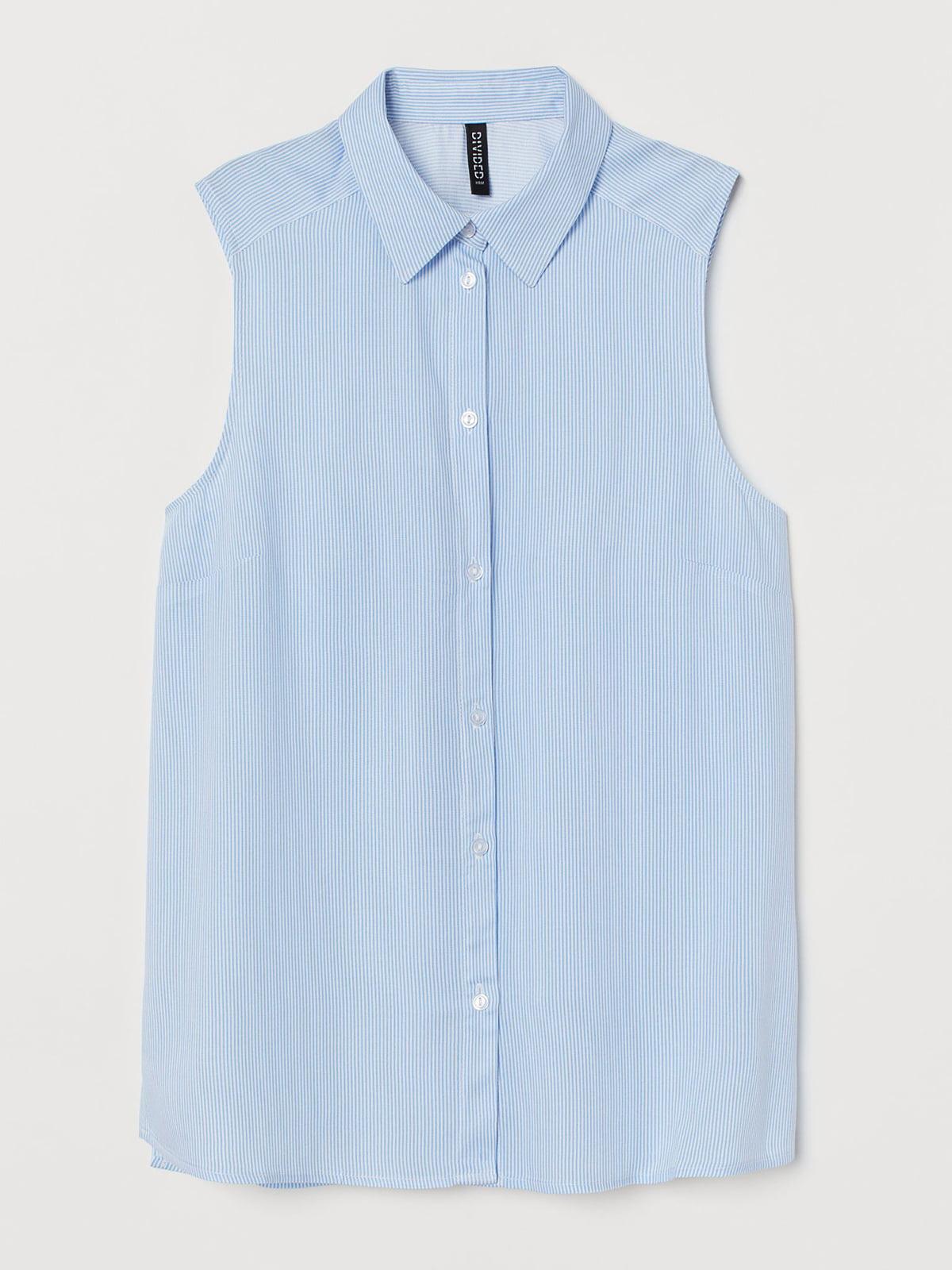 Рубашка-топ голубого цвета в полоску | 5702709