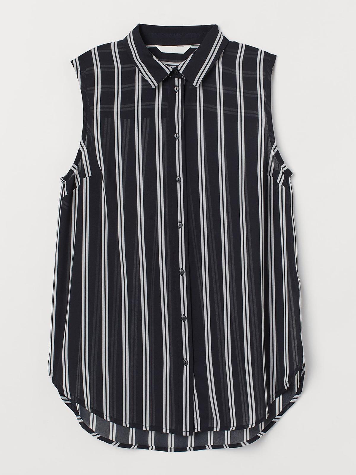 Рубашка-топ черная в полоску   5702710