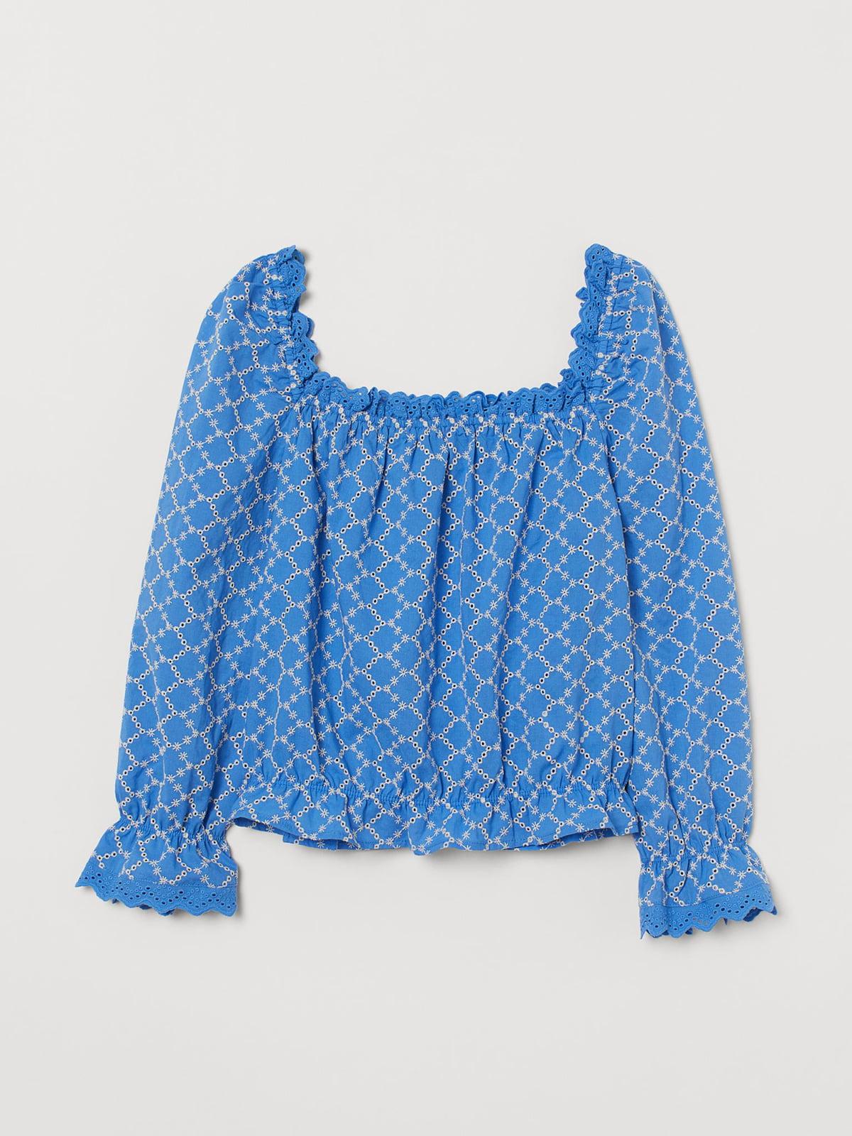Блуза синяя с узором | 5702719