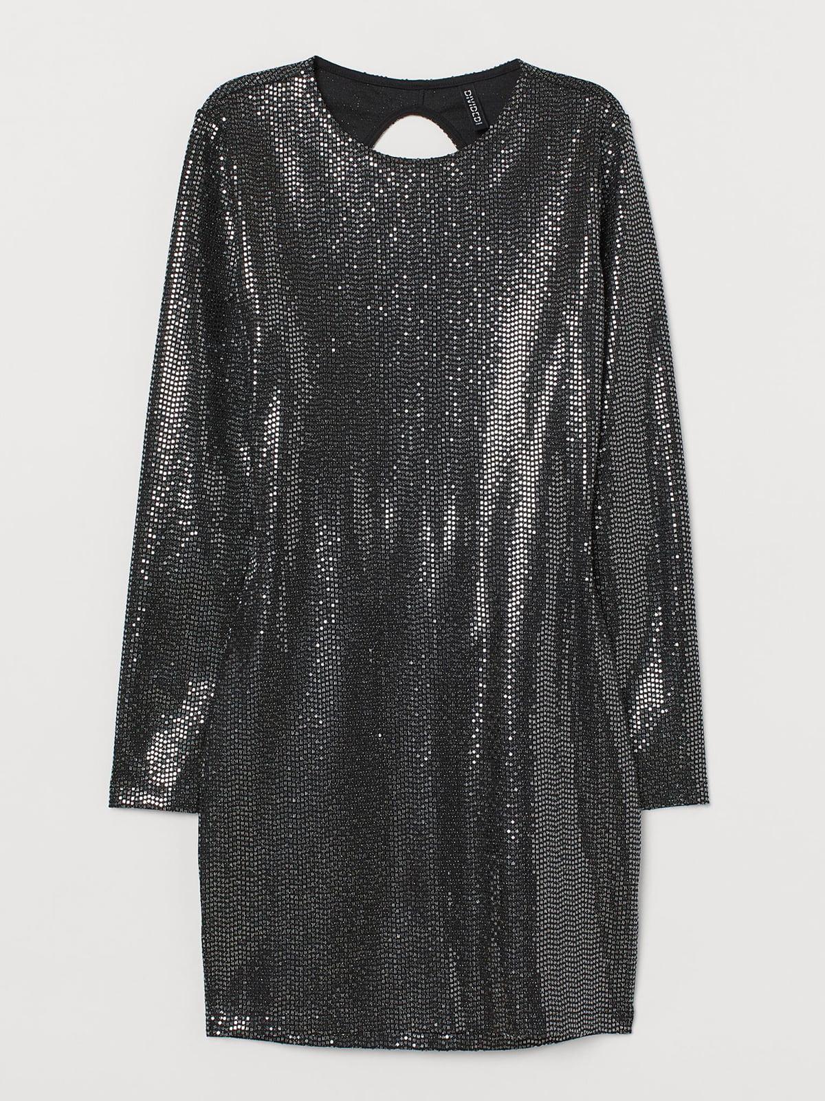 Сукня чорно-сріблястого кольору з декором | 5702721