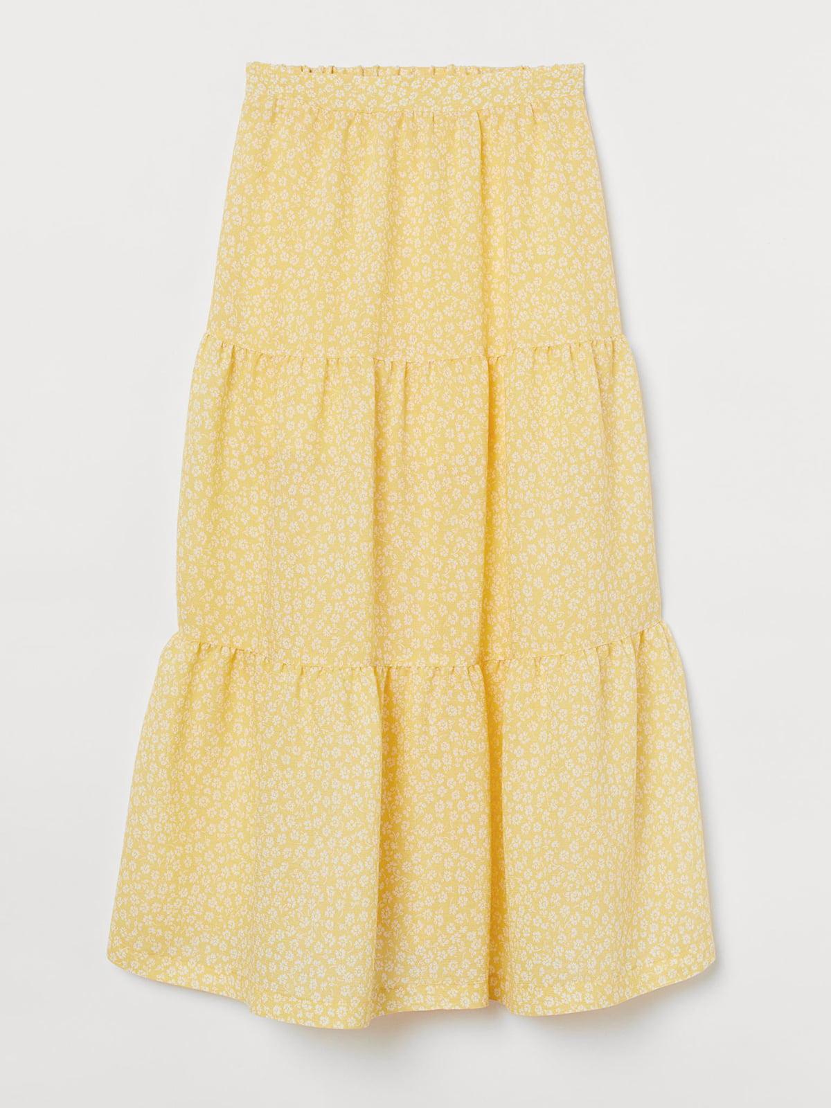 Юбка желтая с цветочным принтом | 5702759