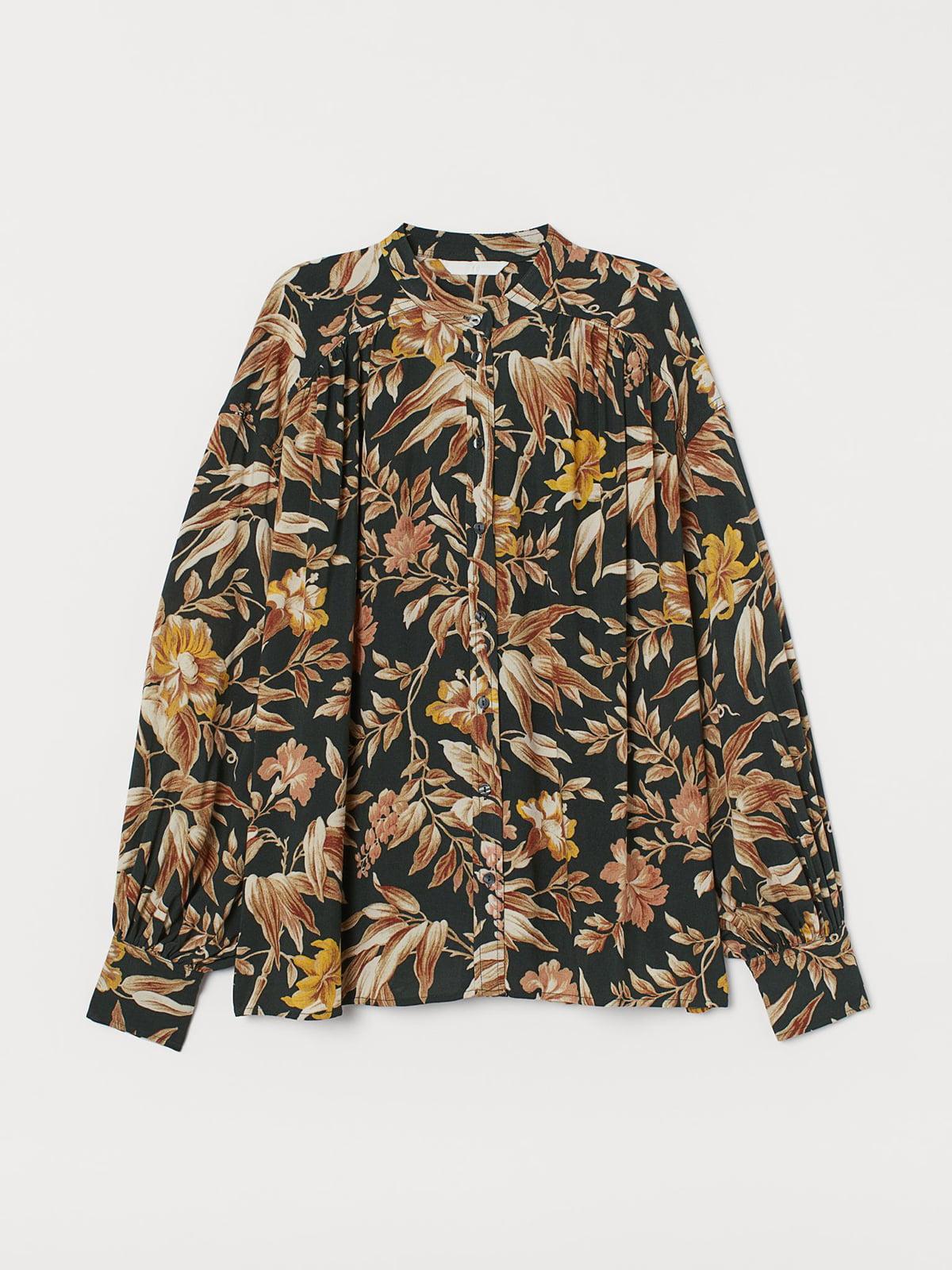 Рубашка зеленого цвета с цветочным принтом | 5707219