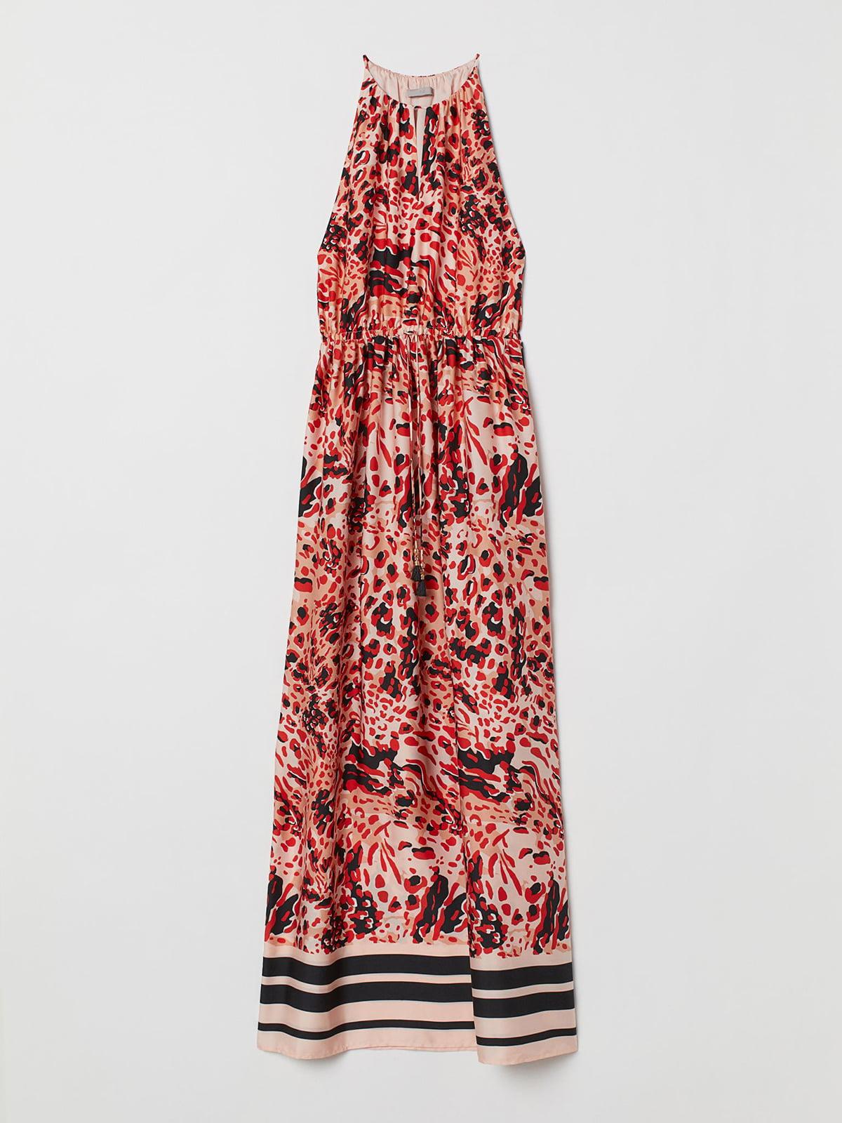 Платье красного цвета с анималистическим принтом   5707236