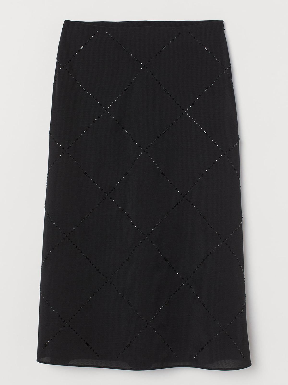 Юбка черная с узором-ромбом | 5707246