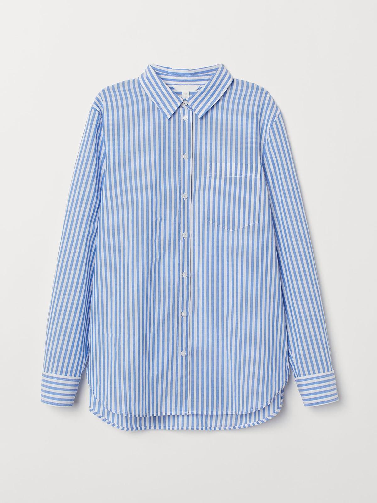 Рубашка синяя в полоску | 5707264
