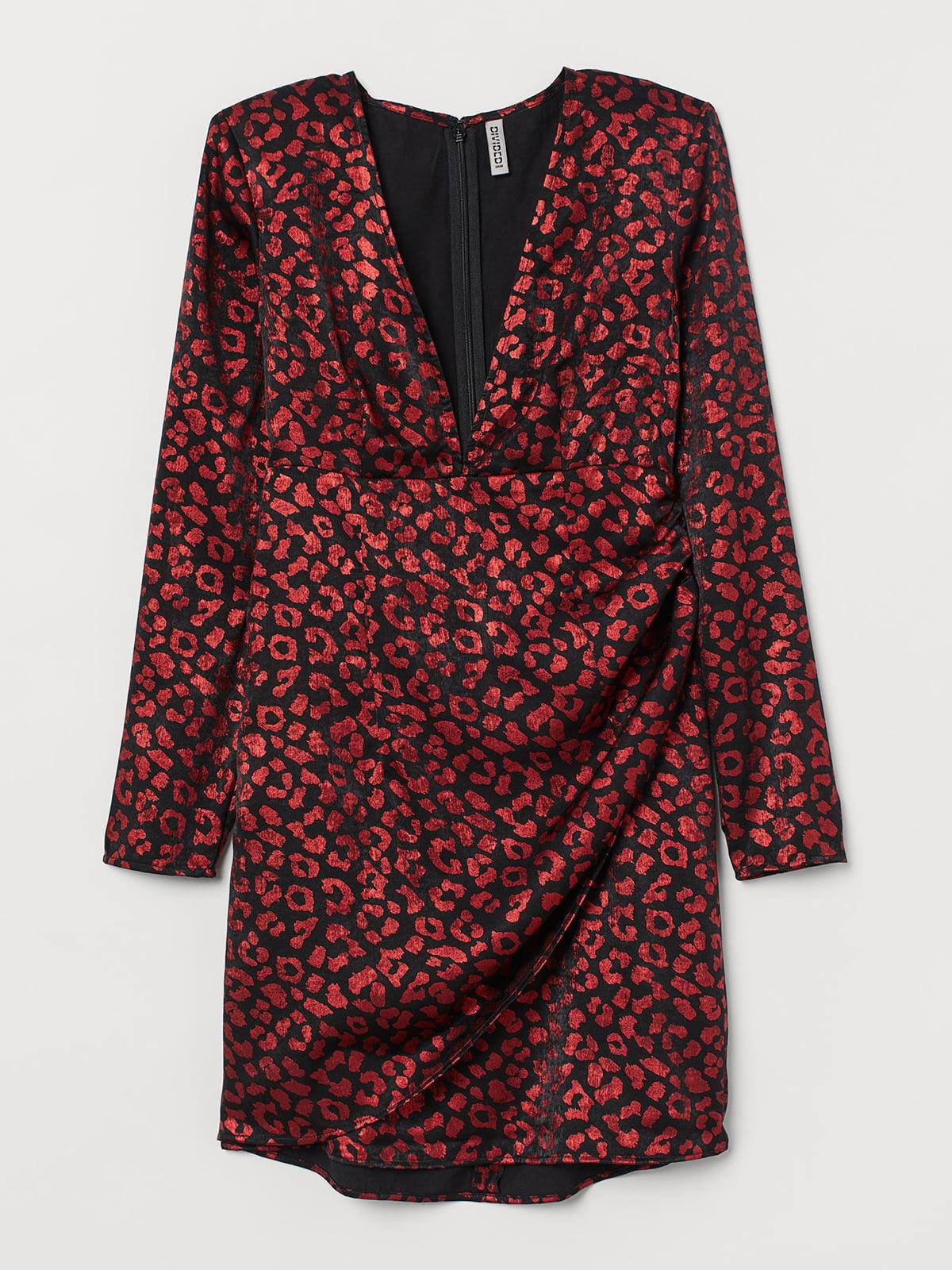 Платье красного цвета с анималистическим принтом   5707277