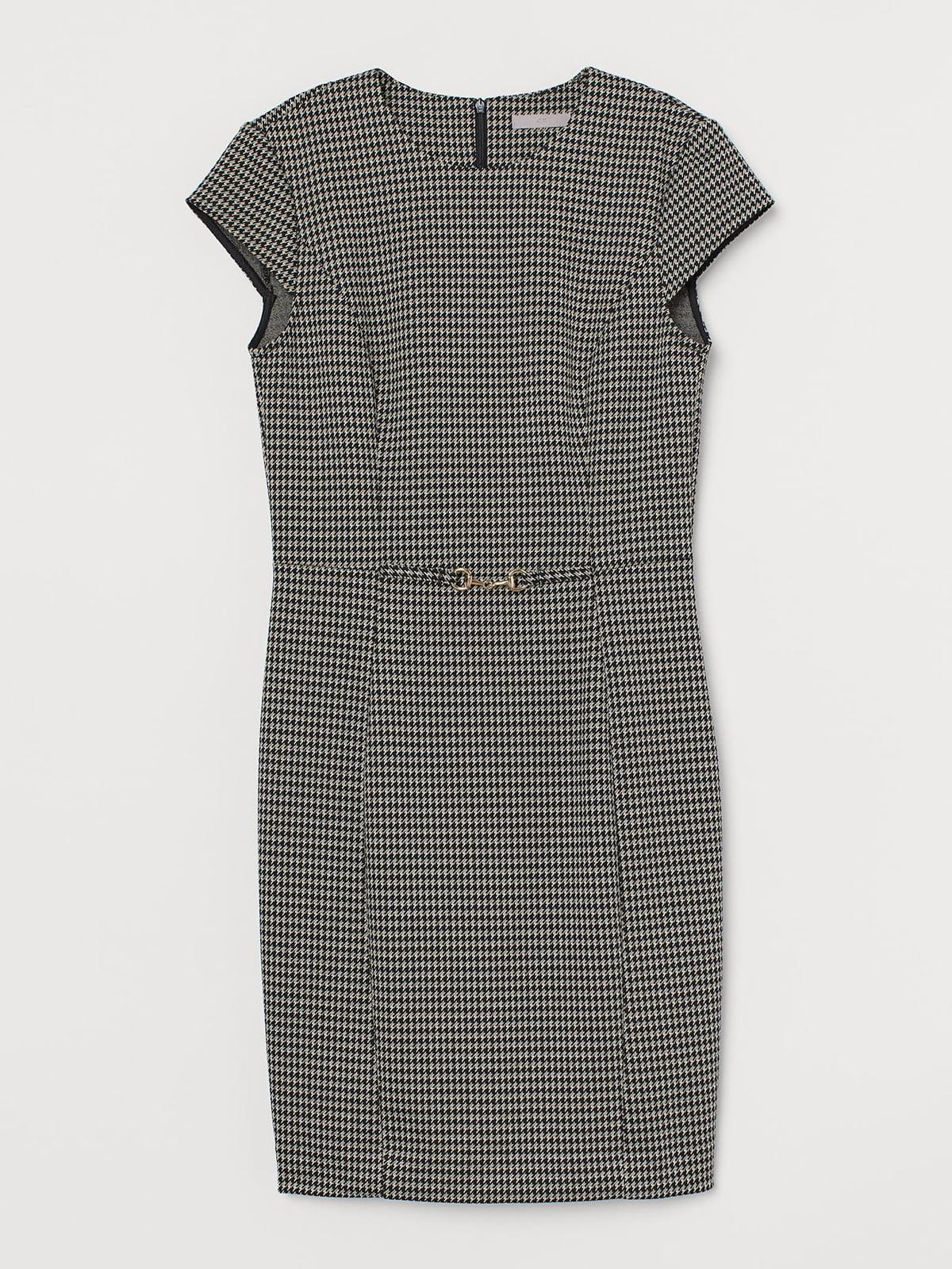 Платье черное в «гусиную лапку» | 5707283