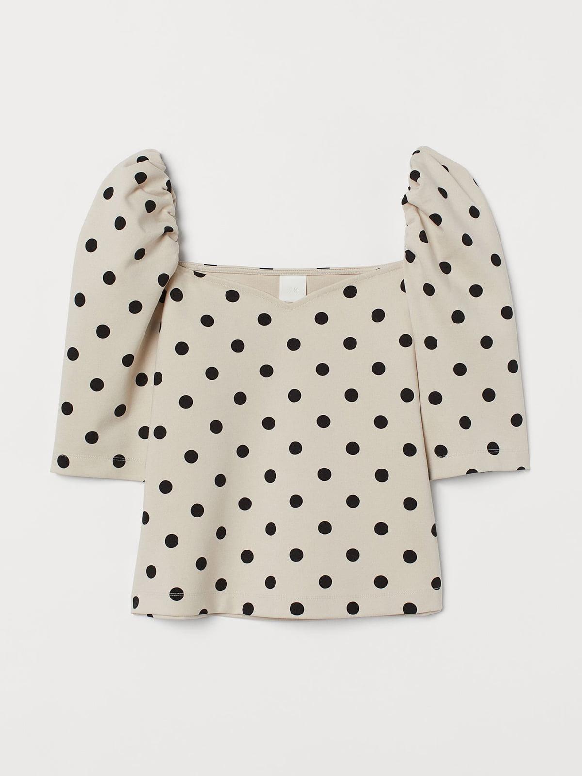 Блуза бежевого цвета в горошек | 5717057