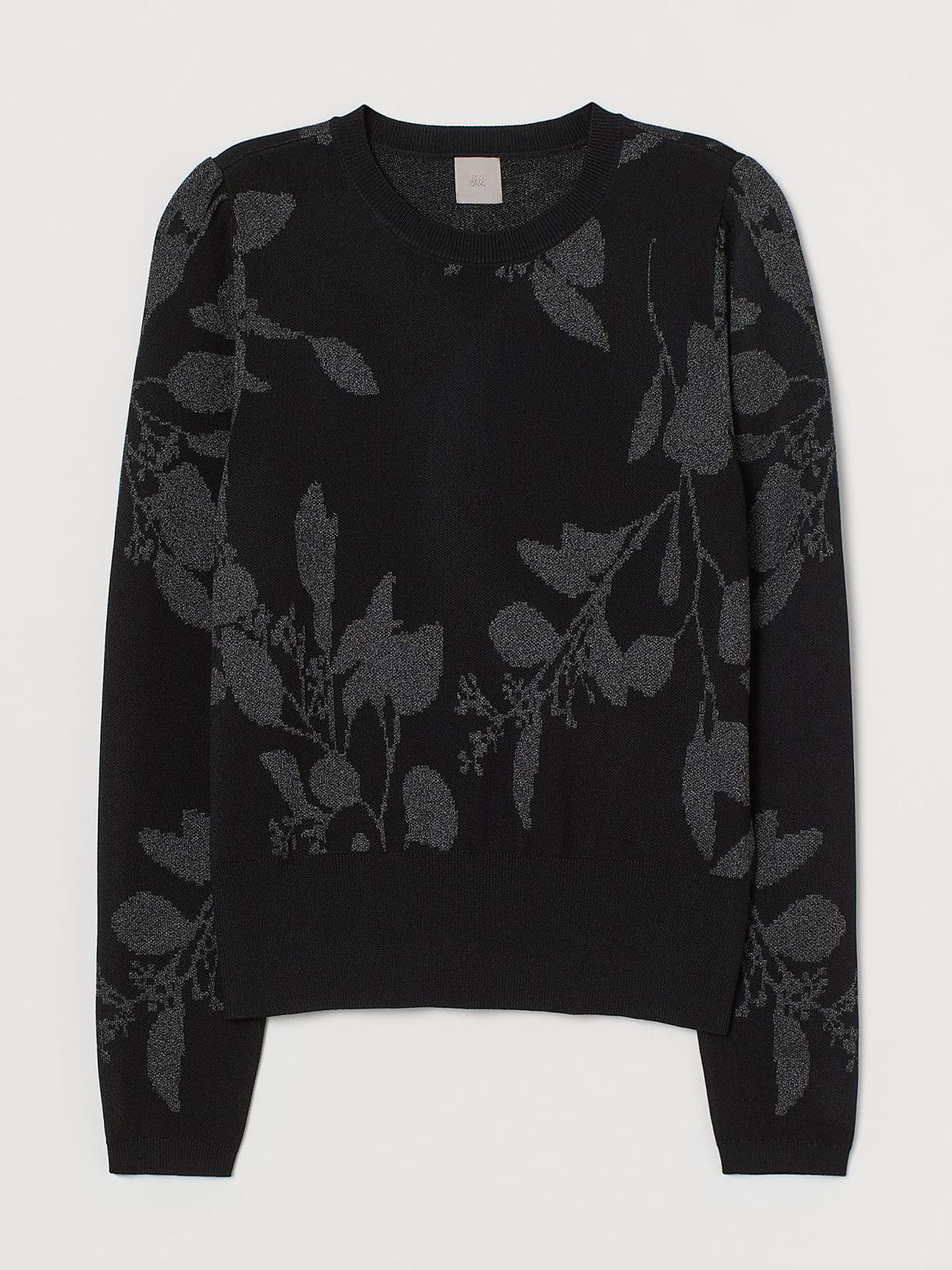 Джемпер черный с цветочным принтом | 5717078