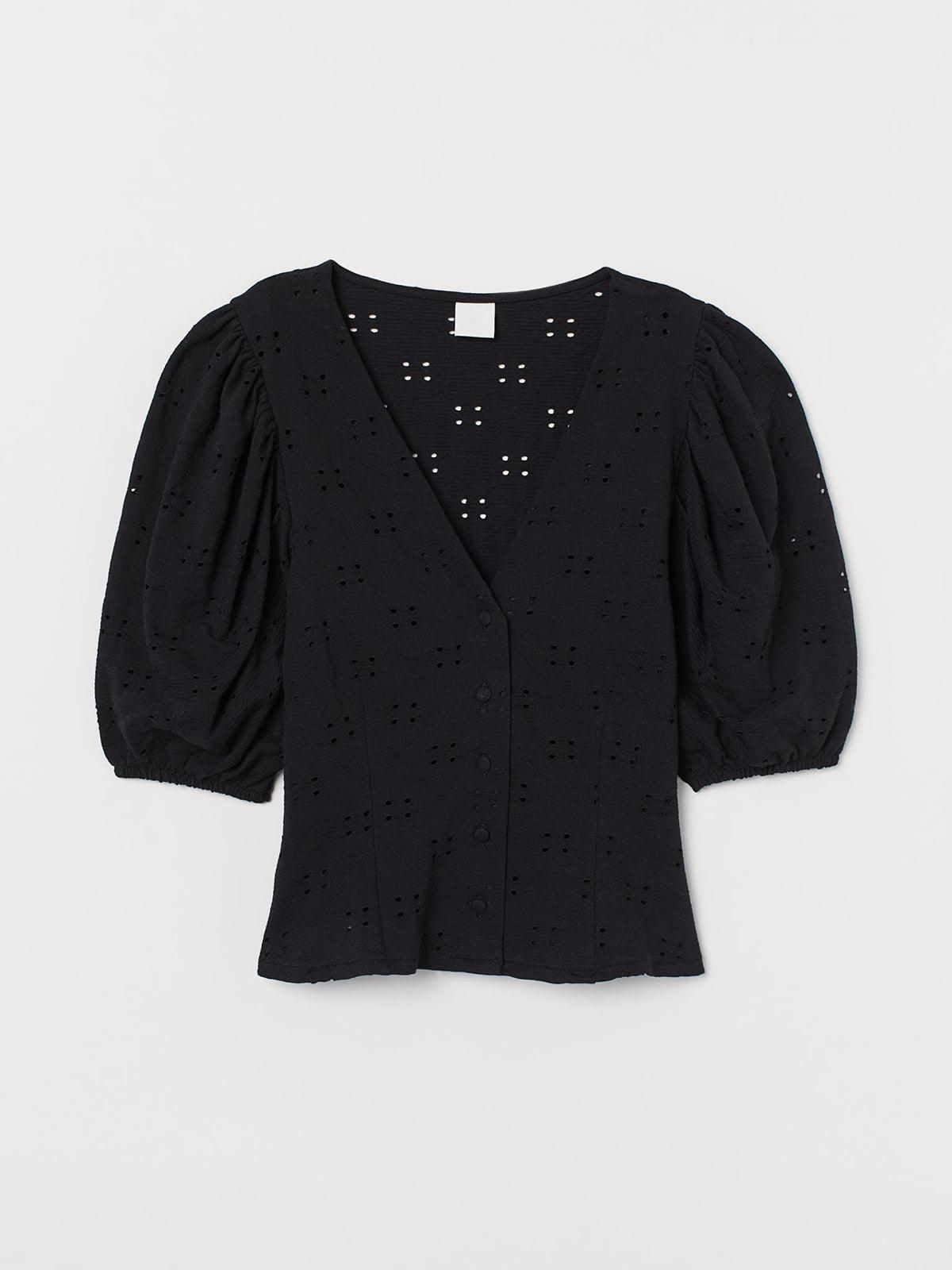 Блуза черная с перфорацией | 5717820