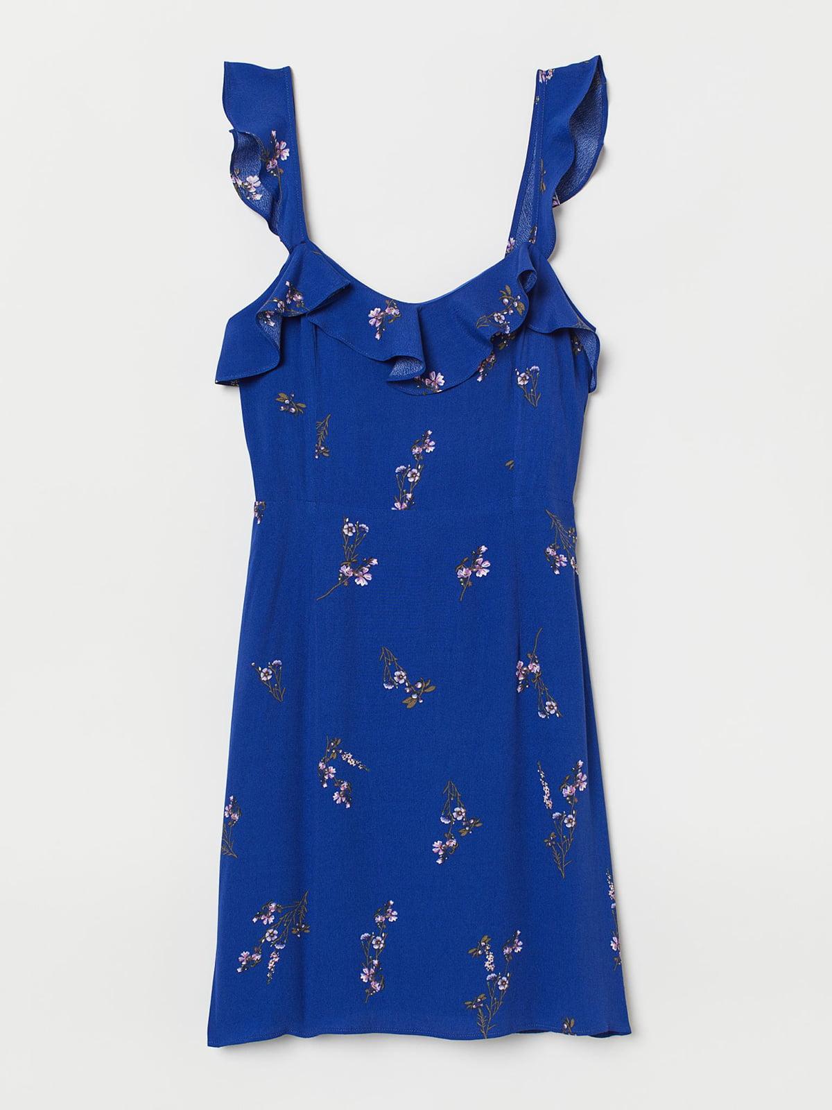 Сарафан синий с цветочным принтом   5717849
