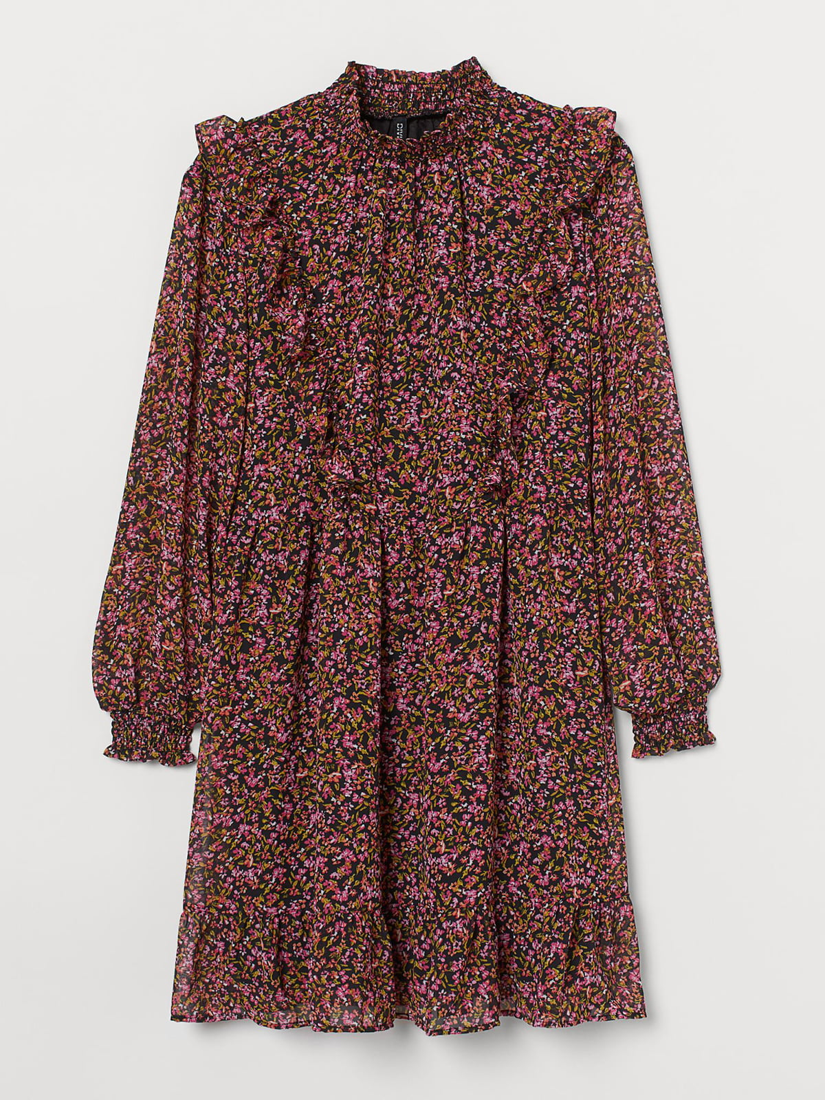 Платье черное с цветочным принтом | 5717919