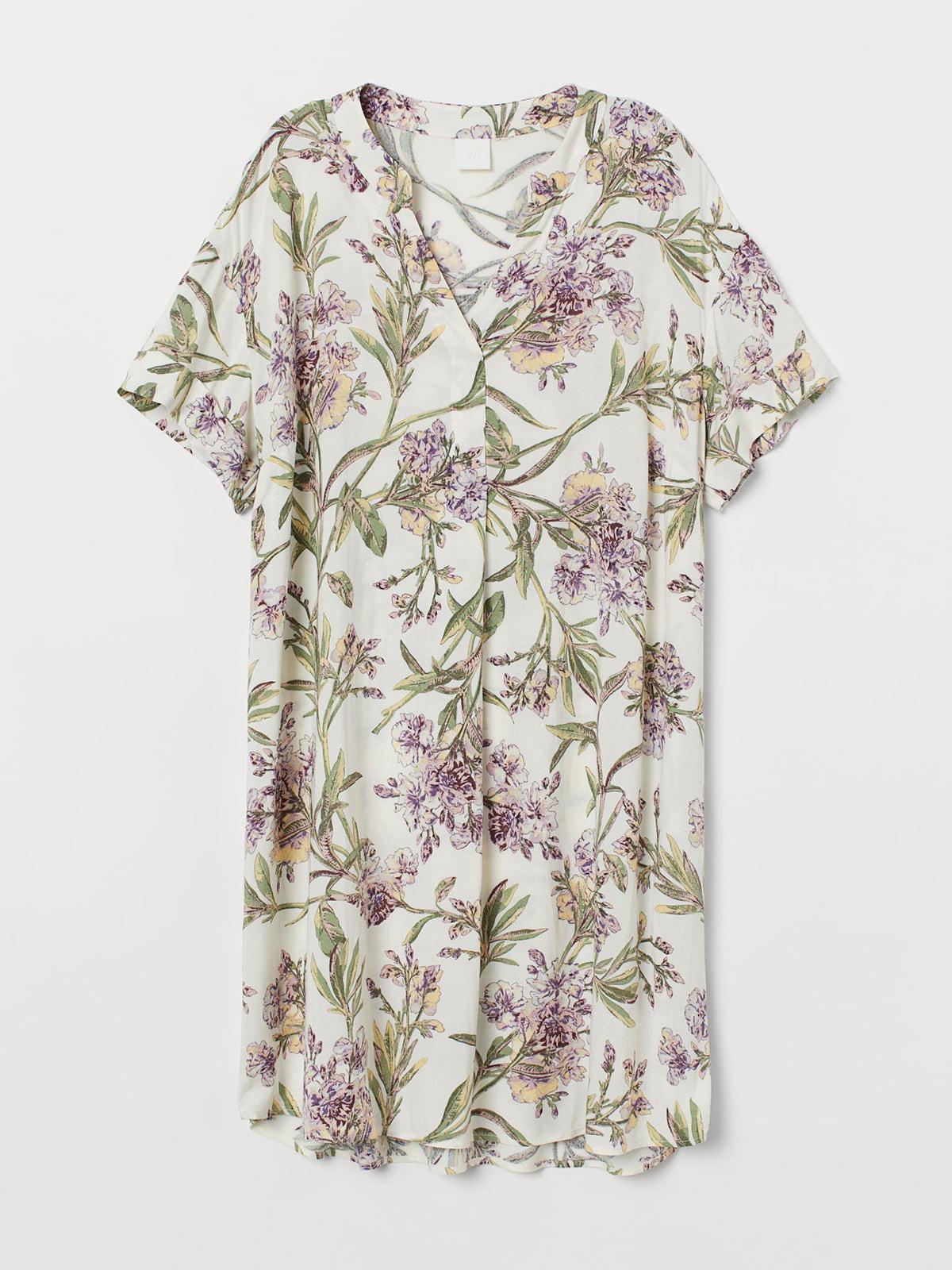 Платье белое с цветочным принтом   5717953