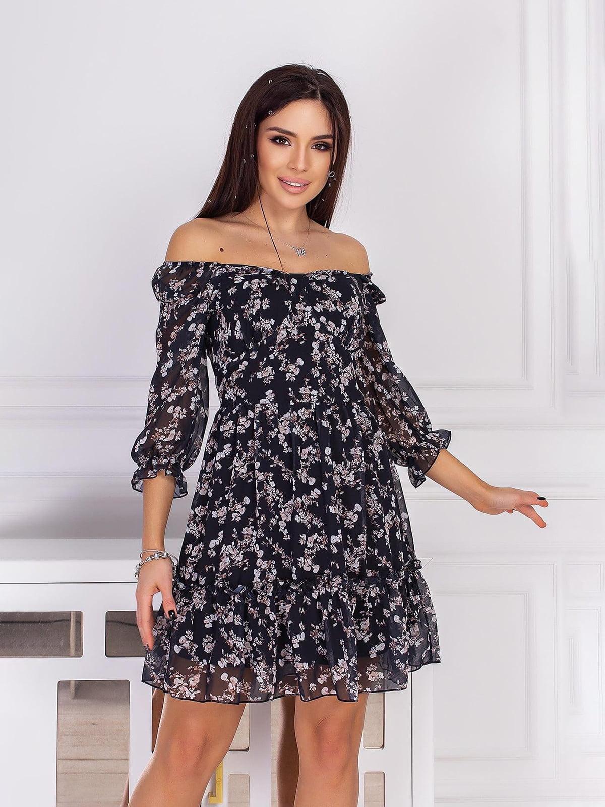 Платье черное в принт | 5718869