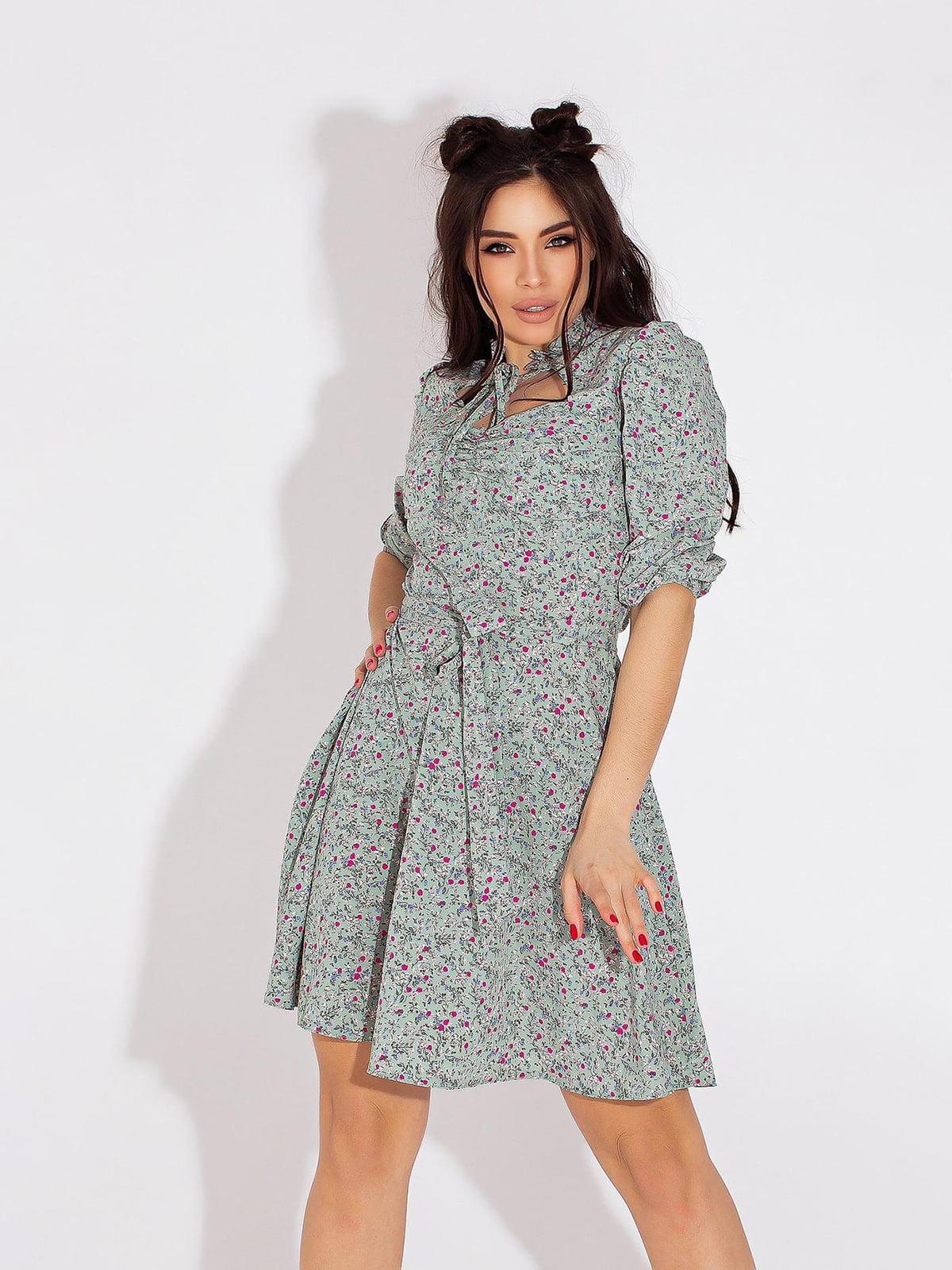 Платье бирюзовое в принт | 5718872