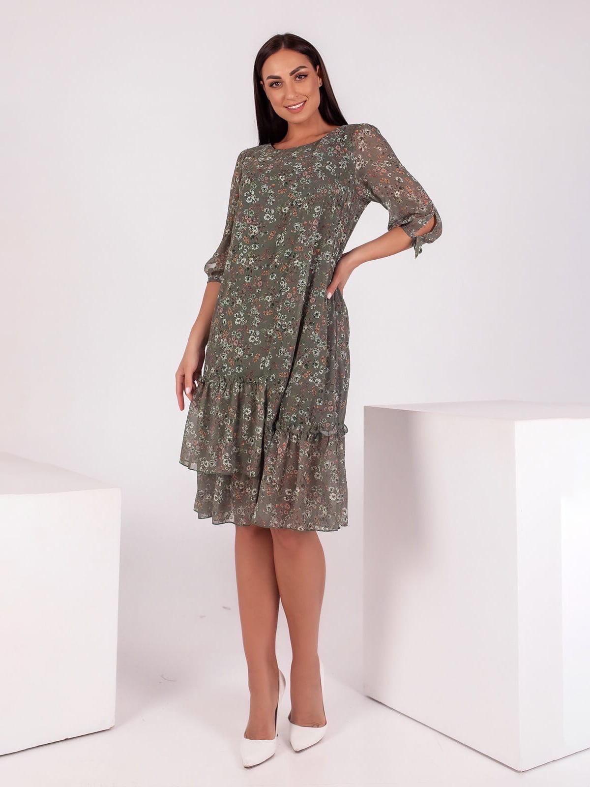 Сукня кольору хакі в принт   5718882