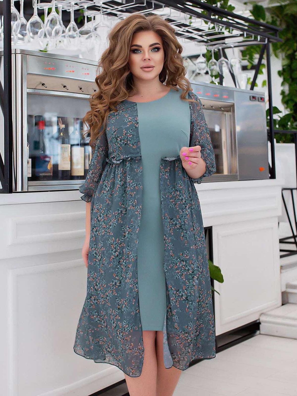 Платье голубое в принт | 5718887