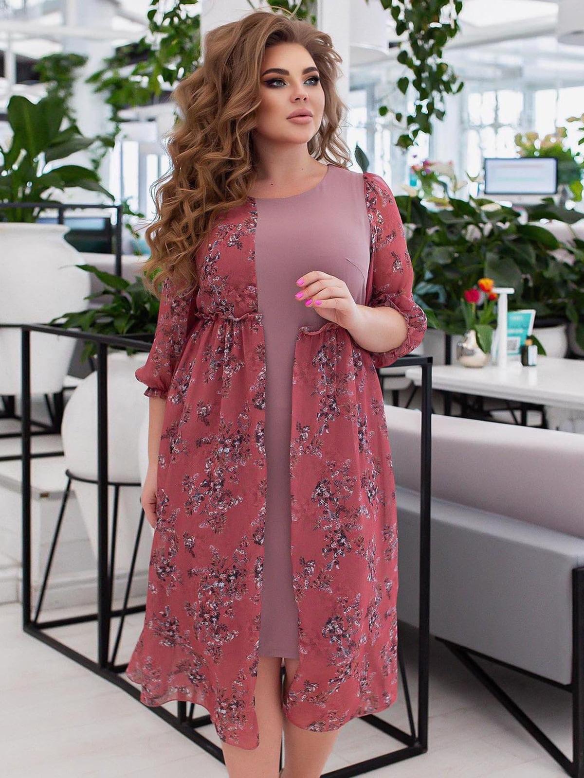 Платье розовое в принт | 5718888