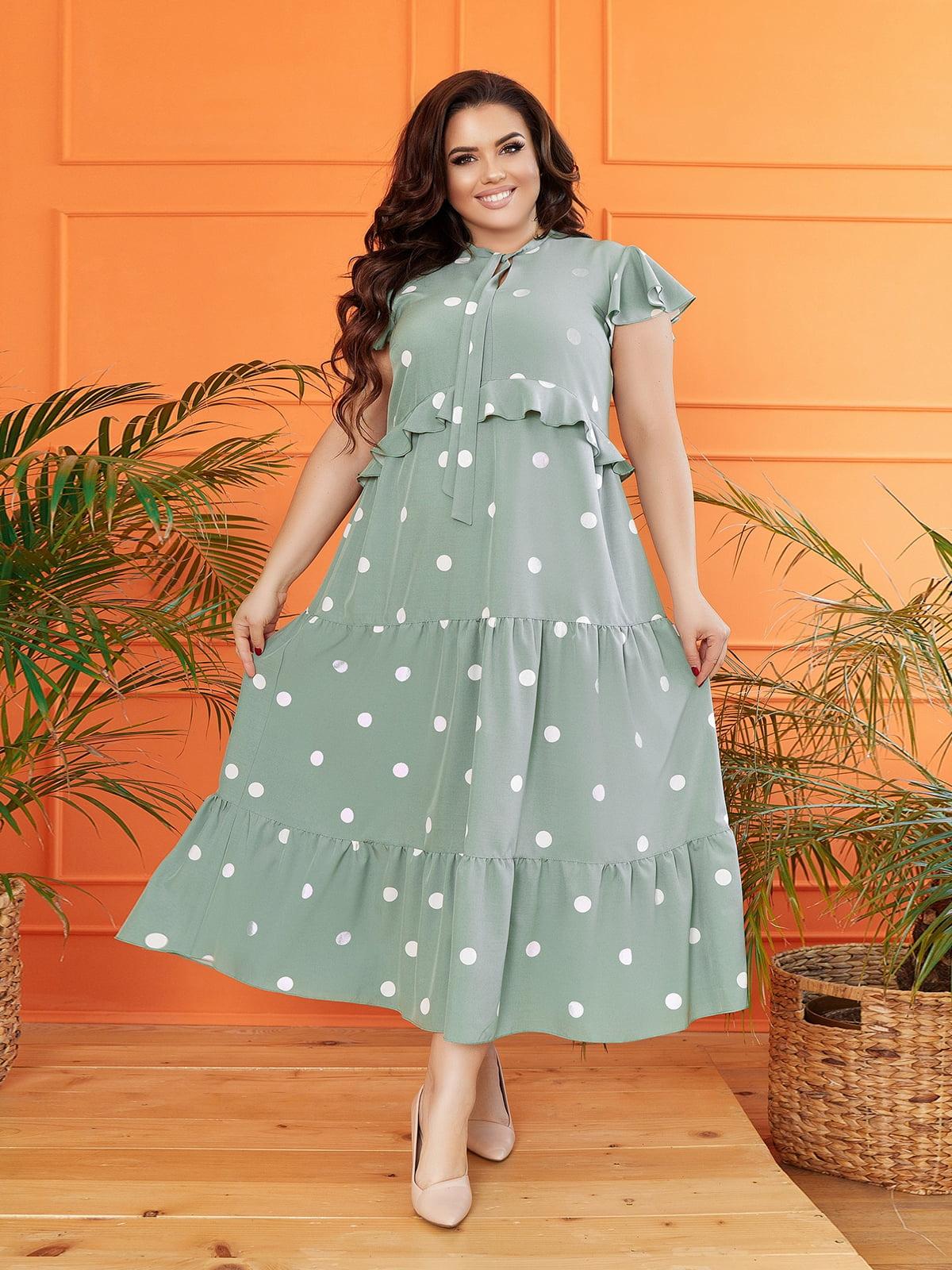 Платье мятного цвета в горошек | 5718912