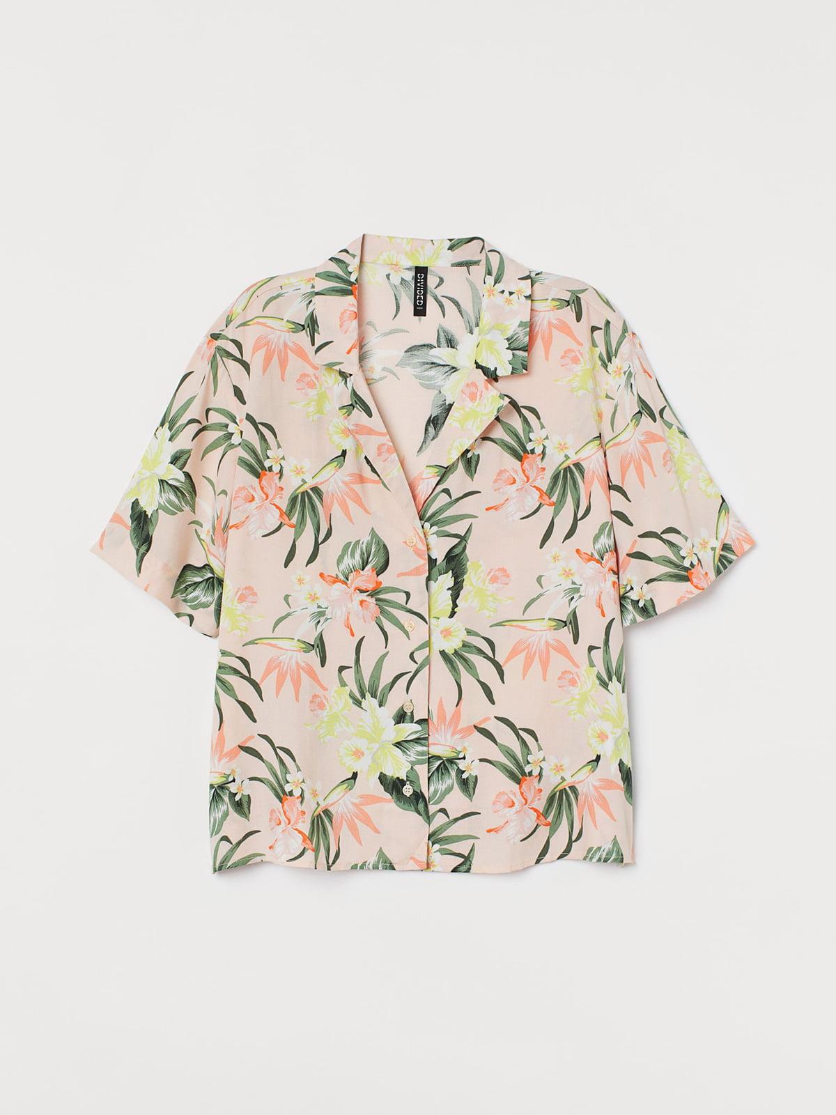 Рубашка розовая в цветочный принт | 5721723
