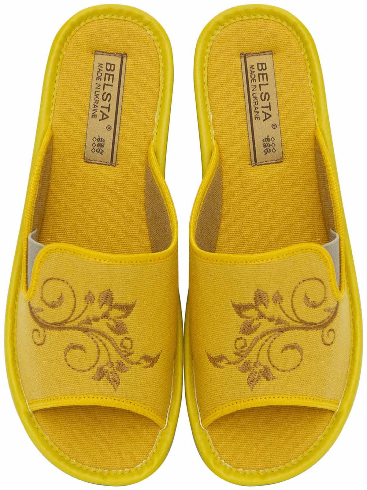 Тапочки желтые с вышивкой   5731998