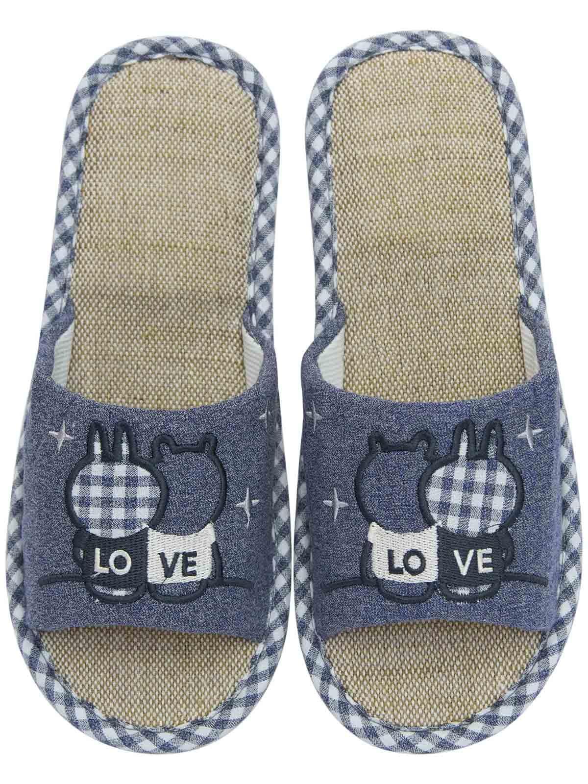 Тапочки синие с вышивкой | 5732012