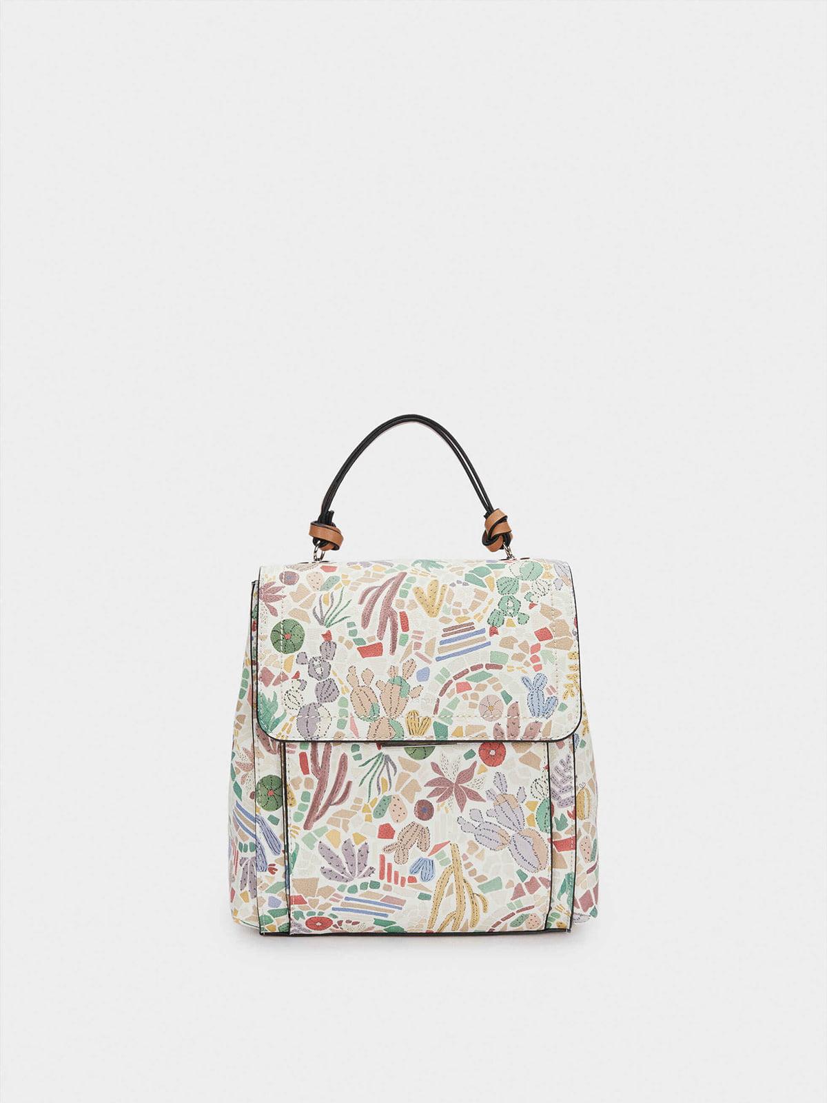 Рюкзак-сумка белый в принт   5732125