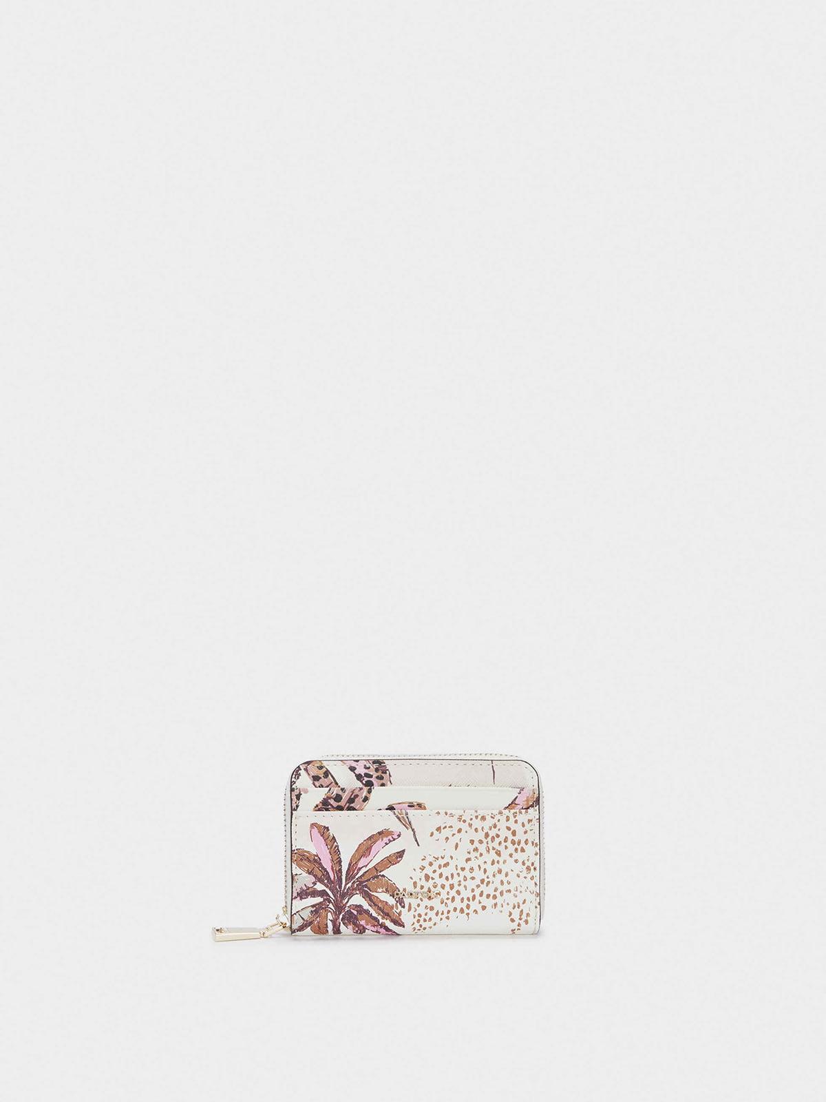 Кошелек белый в цветочный принт | 5732136