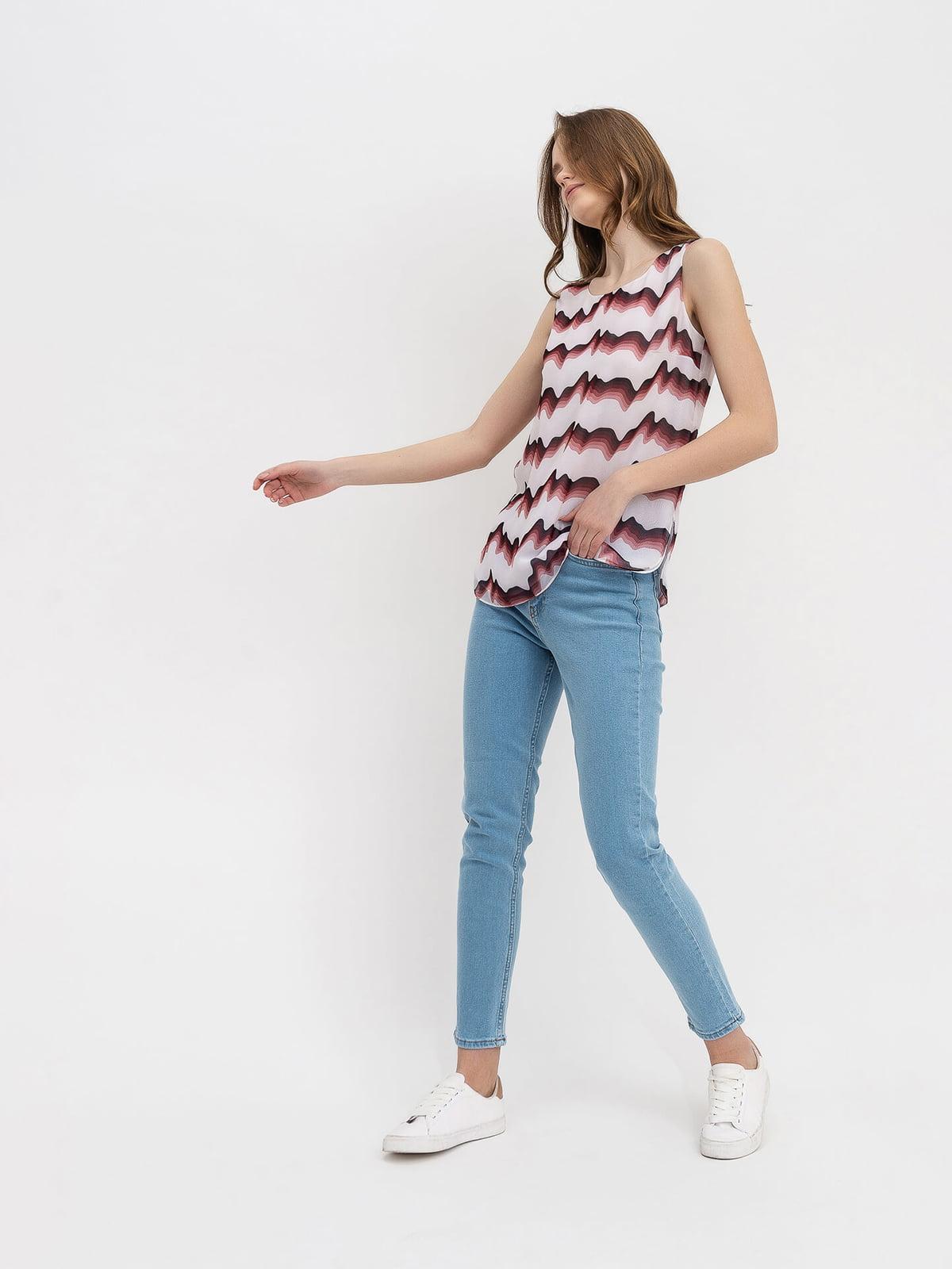 Блуза молочного цвета с принтом   5115731