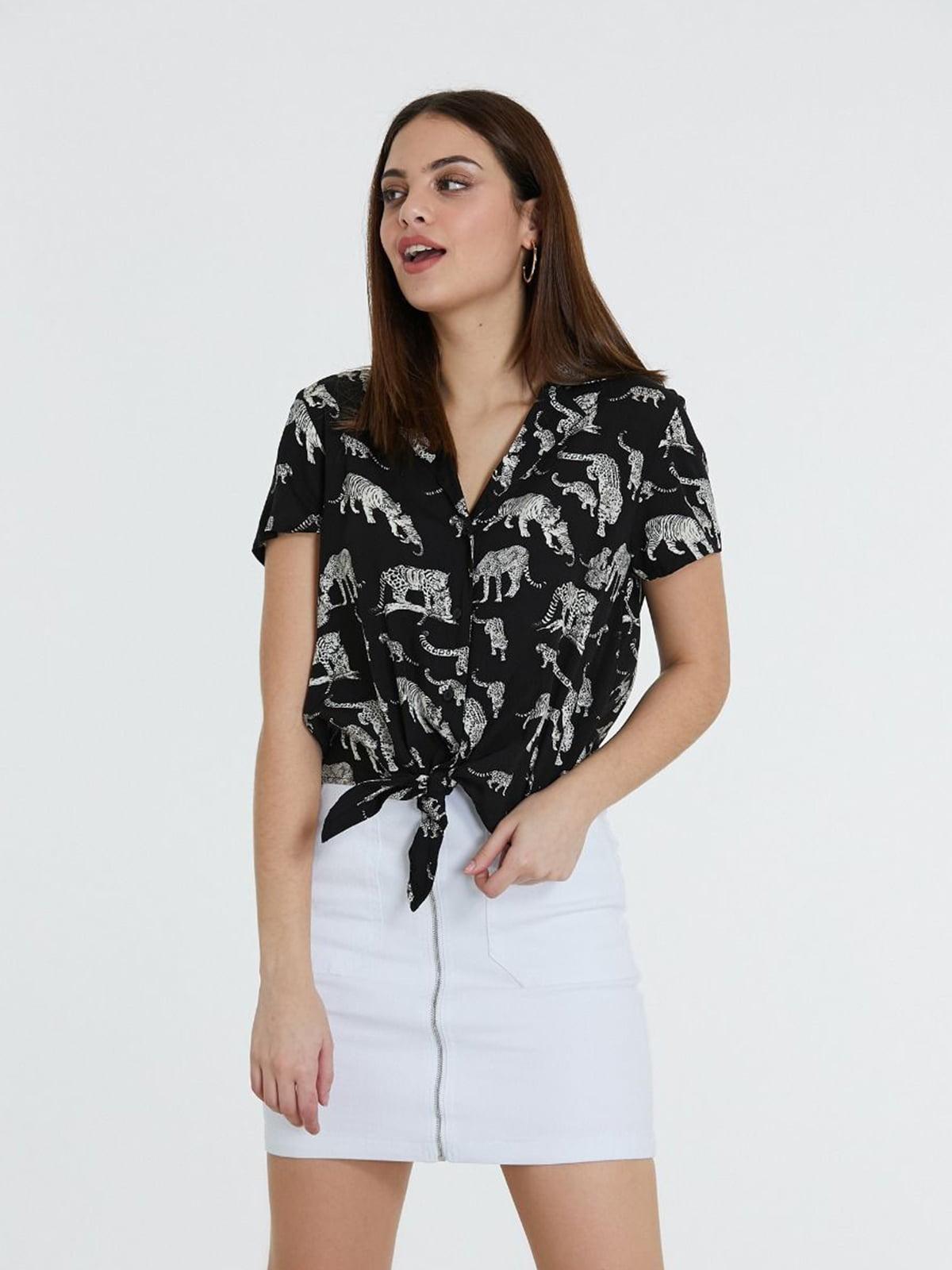Блуза черная в принт   5741273
